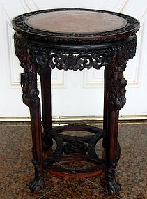 Antique Chinese Rosewood Table Marble Top