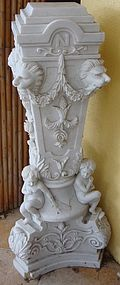 pre 1900 Antique French Napoleon Carved Marble Pedistal