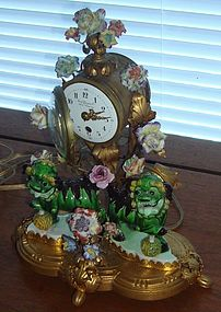 Antique Meissen Dragon Ormolu French Clock