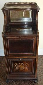 Antique Rosewood Music Cabinet Inlaid 19th C.