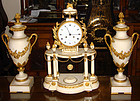 Antique French Marble Clock & Garnitures 18th C.
