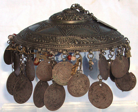Antique Silver Ottoman Headdress 18th C. 52 Coins