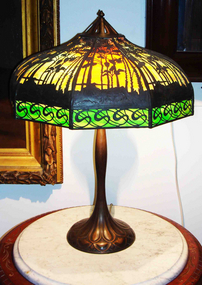 Antique Signed Handel Palm Lamp