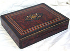 Antique French Napoleon III Rosewood Burl Inlaid Game B