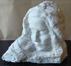 "William Zorach Marble Sculpture ""Mother and Child"""