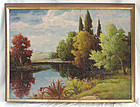 Oil Painting J. H. Sharp 1859 - 1953 Lake Landscape