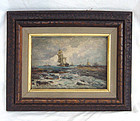 Oil Painting Giorgio Belloni 1861-1944 Ship Seascape