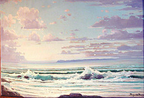 Oil Painting Ropp 1888 - 1974 Laguna Beach Seascape