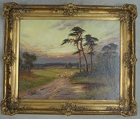 Barbizon Landscape Sheep Oil Painting Mund
