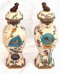 Pair French Japonaiserie Covered Ceramic Vases
