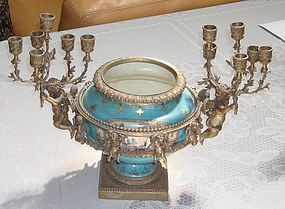 Russian Sevres Porcelain Tureen Bronze Mounted 18th C.