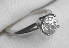Old Antique Mine Cut Diamond Solitaire Ring 1900s