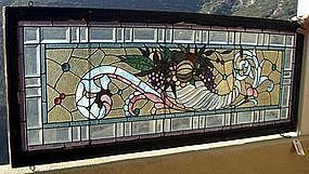 American Leaded Stained Glass Cornucopia Window