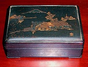 Signed Japanese Meiji Brass Inlaid Rosewood Box