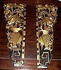 Pair of Chinese Temple Carvings - Nature Motif