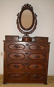 Antique Walnut Dresser Vanity Antebellum 1850