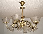 Large Brass and Etched Glass Chandelier