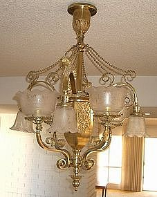 Large Ornate Brass and Etched Glass Chandelier