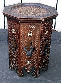 19th Century  Moroccan Mousharabi Tabaret  Style Table