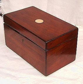 18th Century Mahogany Neoclassical Inlaid Tea Caddy
