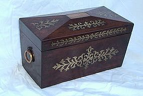 Finest Regency Brass Inlaid Rosewood Tea Caddy