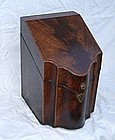 Rare English George III Serpentine Mahogany Knife Box