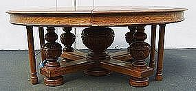 Antique Tiger Oak Dining Conference Table Large 14 Ft.
