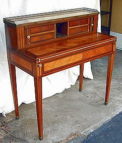 French Antique Inlaid Marble Leather Top Desk