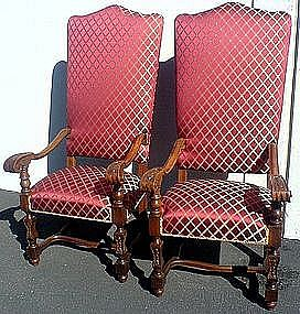 Large Pair Antique English Carved Walnut Hall Chairs