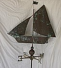 19th Century Antique Victorian Copper Ship Weathervane