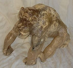 Large Finely Carved Alabaster Chimpanzee