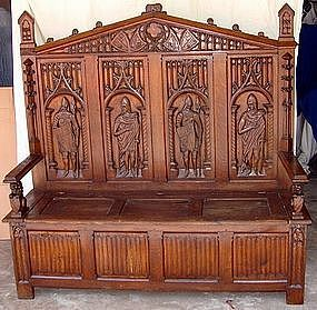 Antique Gothic Flemish Carved Knights 5' Oak Bench