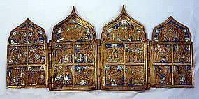 Antique Russian Icon Brass Enamel 18th Century