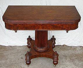 Antique English Regency Burl Mahogany Game Table