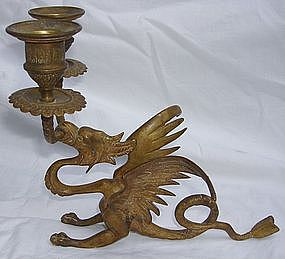 Two Antique French Gilt Bronze Dragon Candelabras