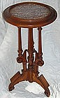 Antique Victorian Walnut Marble Top Stand Table