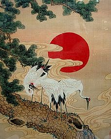 Antique Japanese Meiji Silk Painting Cranes Signed