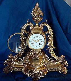 Antique French Clock 19th Century Gilt Bronze