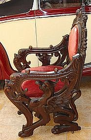 Antique Carved Walnut Griffin Throne Chair 19th C.