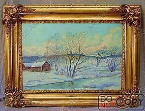 Oil Painting Johansson 1863 - 1944 Snow River Cabin