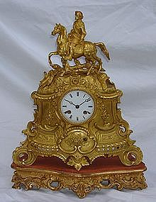Antique French Clock 18th - 19th C. Ormolu Silk Susp.