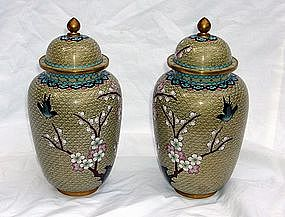 Chinese Cloisonne Vases Matching Opposite Lidded Pair