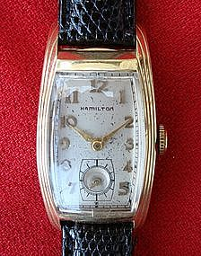 Hamilton Wrist Watch Men's Gold Vintage Linwood 1930s