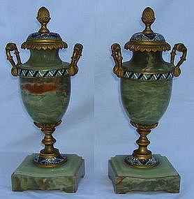 Antique French Champleve Onyx Garnitures 19th Century