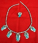 Indian Sterling Silver Turquoise Coral Necklace & Ring