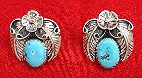 Sterling Silver and Turquoise Indian Earrings