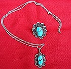 Sterling Silver and Turquoise Necklace and Ring