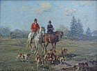 Oil Painting Fritz Van der Venne (1873-1936)  Fox Hunt