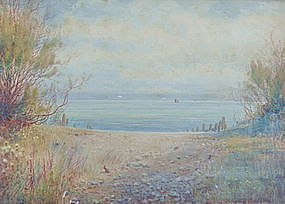 Painting J. R. Goodman 1878 � 1949 English Seascape