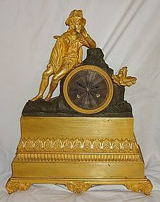 Antique French Clock Late 18th C. Silk Susp. Figural